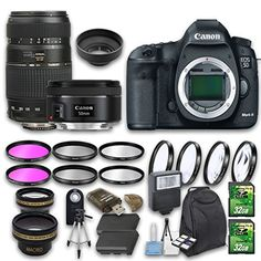 Canon EOS 5d Mark III DSLR Camera Bundle with Canon EF 50mm f/1.8 STM Lens   Tamron Zoom Telephoto AF 70-300mm Lens   Wideangle Lens   Telephoto Lens   2 PC 32 GB Cards   6 PC Filter Kit * Find out more about the great product at the image link.