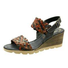 Napa Flex Cassie Women US 10 Brown Wedge Sandal, Size: 10 Medium, Black