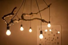 Natural Tree Branch And String Light Chandelier