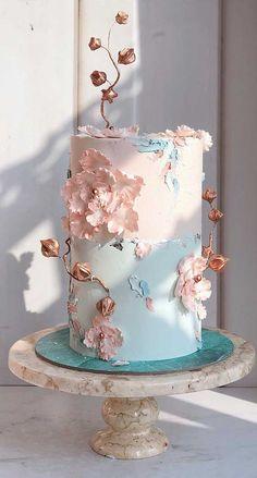 79 wedding cakes that are really pretty! pretty wedding cake designs, painted wedding cake, unique w Pretty Wedding Cakes, Square Wedding Cakes, Elegant Wedding Cakes, Elegant Cakes, Wedding Cake Designs, Pretty Cakes, Beautiful Cakes, Cool Cake Designs, Unique Weddings