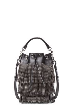 SAINT LAURENT   Small Seau Studded Bucket Bag with Fringe in Black