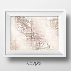 Calgary Street Map Modern Minimalist Art Print Office or Home Wall Decor