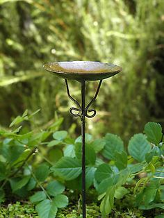 Miniature Dollhouse FAIRY GARDEN ~ Antiqued Metal Bird Bath Pick ~ NEW