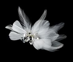 Elegant White Feather Hair Clip Adorn in Pearls Crystals & Rhinestones - HP 8402