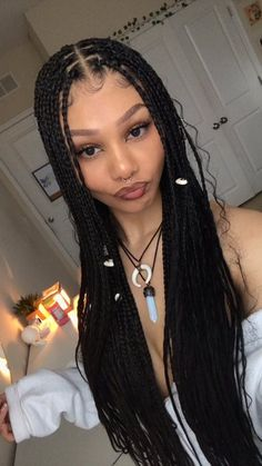 Box Braids Hairstyles, Black Girl Braided Hairstyles, Baddie Hairstyles, Girl Hairstyles, Protective Style Braids, Protective Hairstyles, Curly Hair Styles, Natural Hair Styles, Queen Hair