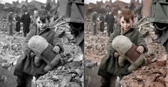 Amazing what a little colour can do... Revival of old pictures -> Abandoned-boy-holding-a-stuffed-toy-animal_2