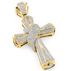 Hip Hop Jewelry: This Large 10K Gold Mens Diamond Cross Necklace Pendant showcases 1.33 carats of genuine diamonds and weighs approximately 14