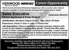 Sales Executive Required in Kenwood Homage for Islamabad