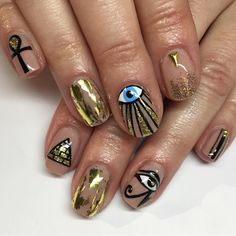 """346 Likes, 4 Comments - Sparkle SF Nail Studio (@superflynails) on Instagram: """"Egyptian for Sydney ✨#nails #nailart #gelmanicure #eyeofra #ankh #sparklesf"""""""