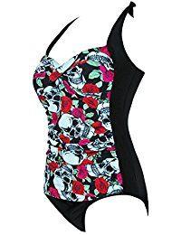 iShine Sexy Damen Badeanzug Push up mit Bügel Jumpsuit Einteiler Retro Triangel Bademode Swimsuit