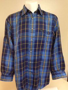 Faconnable Blue Yellow Striped Long Sleeve Button Front Large Shirt #Faconnable #ButtonFront