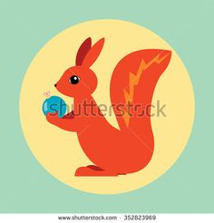 Vector illustration of red squirrel - stock vector