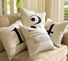 DIY ~ Typographical pillows