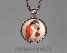 Disney's The Little Mermaid Necklace, Ariel Wedding Jewelry, Kiss, Kissing, Married, Disney Jewelry, Little Mermaid Pendant, Disneys Ariel. www.autodidactcreations.etsy.com