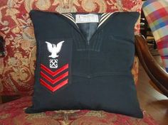 Vintage Navy Uniform Turned Throw Pillow by BoutiqueOnTheCreek Go Navy, Navy Mom, Memory Pillows, Memory Quilts, Military Crafts, Police Crafts, Navy Uniforms, Military Uniforms, Marching Band Uniforms