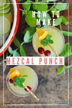 This mezcal holiday punch is made with mezcal, ginger beer, citrus juice, pineapple juice, and orange liqueur. It is the perfect cocktail for entertaining! #mezcal #punchrecipe #cocktail #holidaycocktail