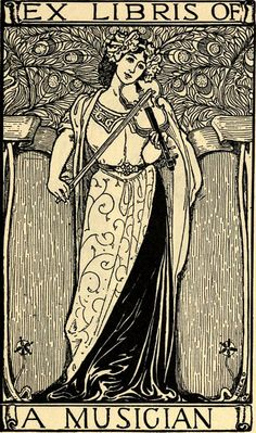ex libris of a musician by Louis Rhead, Boston, 1907.Louis John Rhead. (1857–1926).