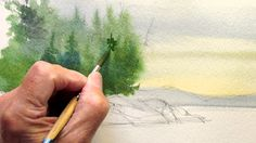 beginners lesson in watercolor, painting evergreens