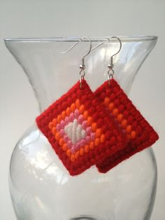 Plastic canvas diamond earrings, mostly single stitches.