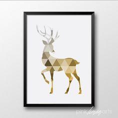 Deer Wall print Gold Deer Printable Gold Home par PinkLemonArts Lemon Art, Pink Lemon, Reproductions Murales, Gold Home Decor, Animal Posters, Geometric Wall Art, Pattern Art, Blue Bird, Wall Prints
