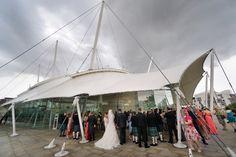 Drinks reception at our Unique Wedding Venue #DynamicEarth #Uniqueweddingvenue #reception #drinks #bride #groom #weddingguests