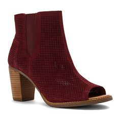 dfa75118d71 TOMS Women s Majorca Peep Toe Bootie Oxblood Suede Perforated Boot 7 B (M)   Suede leather or linen upper. Medial zip and lateral goring for easy on and  off.
