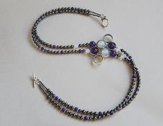 Haematite/amethyst/opalite necklace with hoop connector focal. Thanks, Agata!