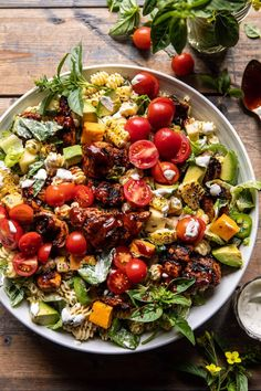 """BBQ Chicken Ranch Pasta Salad...simple to throw together, but packs in the flavor. It's that """"salad"""" everyone really wants to EAT! Bacon Salad, Bacon Pasta, Caprese Salad, Ranch Pasta, Ranch Chicken, Bbq Chicken Salad, Best Pasta Salad, Pasta Salad Recipes, Homemade Bbq"""