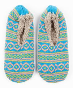 Look what I found on #zulily! Eye Candy Blue & Green Gripper Slipper Socks by Eye Candy #zulilyfinds
