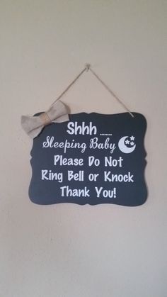 Shhh Baby Sleeping Sign, Door Sign, Baby Shower Gift, Do Not Disturb, Sleeping Sign by (null) on Etsy (null)