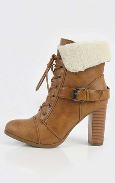 Keep things cozy and fashionable this season with fur trim combat ankle heel boots! Looks great paired with your fabulous outerwear and distressed denim jeans. I MakeMeChic.com