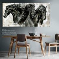 Wish | Modern animal wall art canvas art oil paintings three black horse posters for living room bedroom wall decor painting core