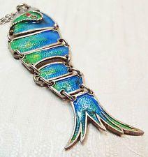 Vintage 1970 HUGE RARE Articulated Enamel Sterling Silver Fish Pendant Necklace