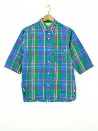 ½ Sleeve Button Down Shirt Green