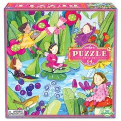 "Fairies by the Pond 64-piece puzzle by eeBoo. Made from soy-based inks on 90% recycled grey board. Beautiful and sturdy, the finished puzzle measures 15"" x 15""."