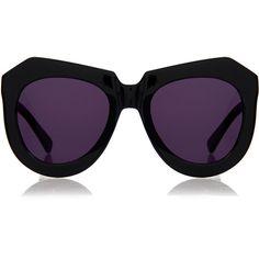Karen Walker One Worship Black Angular Oversized Sunglasses (27.390 HUF) ❤ liked on Polyvore featuring accessories, eyewear, sunglasses, glasses, black, oversized sunglasses, karen walker sunglasses, acetate sunglasses, karen walker eyewear and karen walker glasses