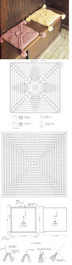 Crochet Pillow - Chart ❥ 4U // hf