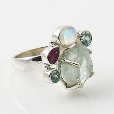 Aquamarine Rough Multi-Gemstone Sterling Silver Ring
