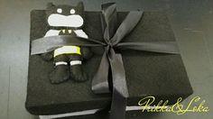 Caixa presente em feltro mini Batman