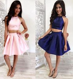 Simple Two-Piece Pink/Navy Blue Short Prom/Homecoming Dress,Sexy prom dress