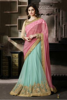 Chiffon and Net Lehenga Saree In Blue and Pink Colour