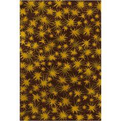Cinzia Brown / Yellow Sparkling Stars Area Rug
