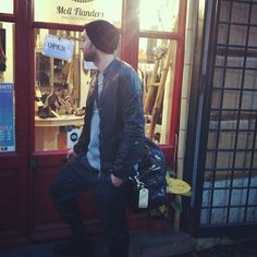 Shopping in Roma: pants #NeilBarrett, knitwear #NeilBarrett, leather jacket #GiorgioBrato, bag #MarcJacobs