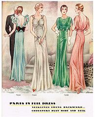 """Paris in Full Dress"": Fashion illustration by Jean des Vignes from McCall's magazine, Feb. 1933."