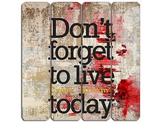 Don't forget to live today Inspirational Rustic Timber Sign from Earth Homewares
