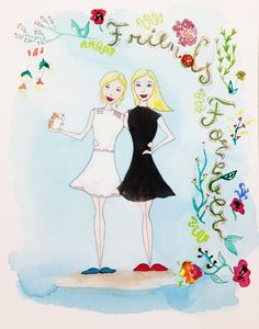 The perfect gift for your best friends! Have a custom portrait of you and your friend with the sentence Friends Forever written with flowers. If you