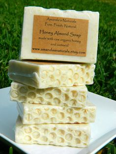 Honey Almond Soap made with raw organic honey by AmandasNaturals, $5.00