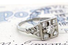 Art Deco Engagement Ring Antique Diamond Ring Platinum Engagement Ring 1920s Ring Square Ring Vintage Estate Ring Filigree Ring Size 6.5