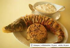 Süllő karácsonyra Ratatouille, Shrimp, Sausage, Food And Drink, Dishes, Ethnic Recipes, Diet, Tablewares, Flatware