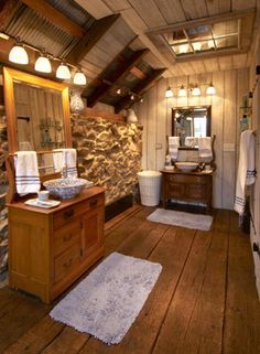 Rustic bathroom that balances modern convenience with historical ambience.